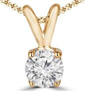 Majesty Diamonds 0.2 CT Classic Solitaire Round Diamond Pendant Necklace in 14K Yellow Gold With Chain, 0.2 Carat
