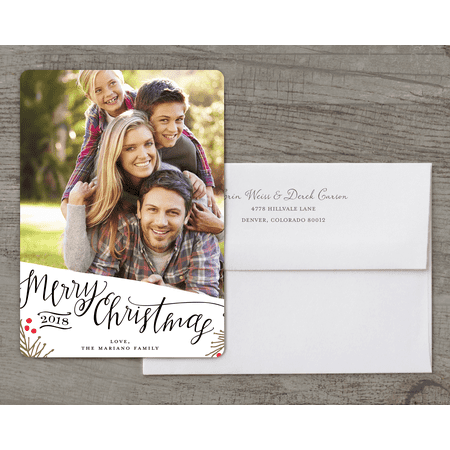 merry christmas happy new year 5x7 personalized deluxe holiday card