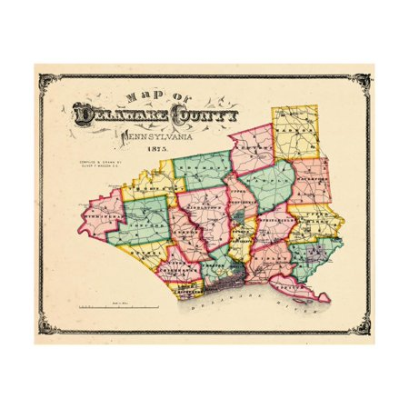 1875, Delaware County Map, Pennsylvania, United States Print Wall (Mississippi State Map With Cities And Counties)