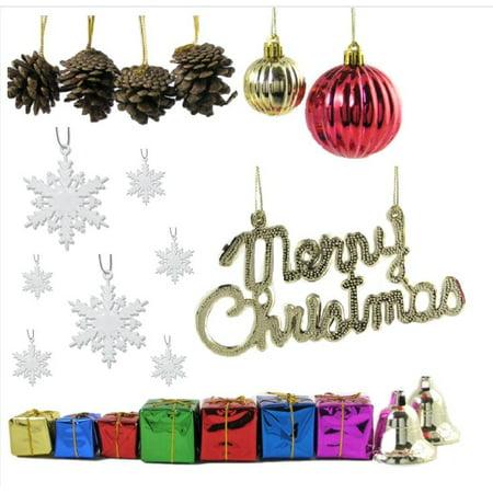Miniature Christmas Ornaments.Mini Christmas Ornaments And Snowflakes Set Of 48 16 Miniature Ornaments And 32 2 White Snowflakes 300 Ornament Hooks Included