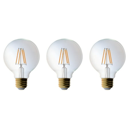 3 Pack Bioluz LED Pendent Light Bulbs G25 Globe 40 Watt LED Replacement (Uses 4.5 Watts) Warm White 2700K UL Listed