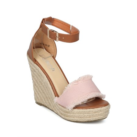 New Women Refresh Miya-02 Frayed Ankle Strap Espadrille Platform Wedge - New Womens Platform