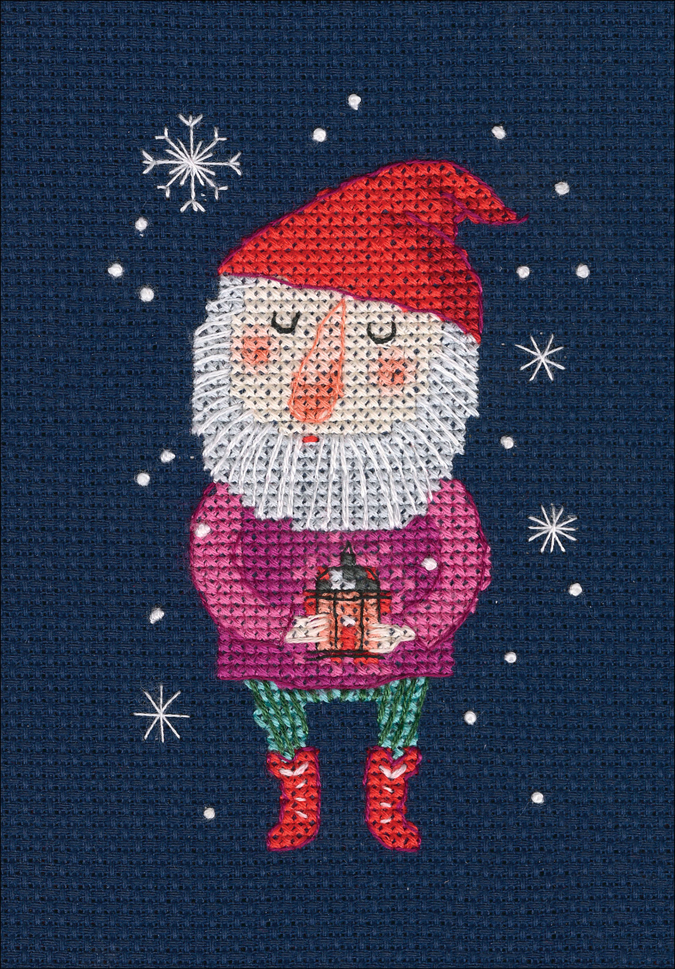 Size: Cotton thread, Cross Stitch Fabric CT number: 11ct unprint canvas gnome place like home cross stitchX-mas package 18ct 14ct 11ct white cloth cotton thread embroidery DIY handmade needlework