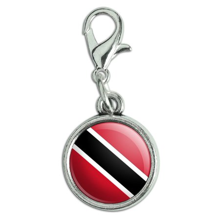Trinidad and Tobago National Country Flag Antiqued Bracelet Pendant Zipper Pull Charm with Lobster