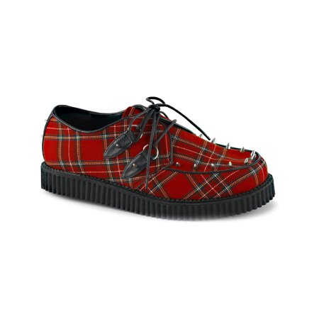 mens red shoes creepers plaid platform loafers lace up oxfords studs men sizing Plaid Creeper Shoe