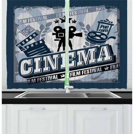 Movie Theater Curtains 2 Panels Set  Vintage Cinema Poster Design With Grunge Effect And Old Fashioned Icons  Window Drapes For Living Room Bedroom  55W X 39L Inches  Blue Black Grey  By Ambesonne