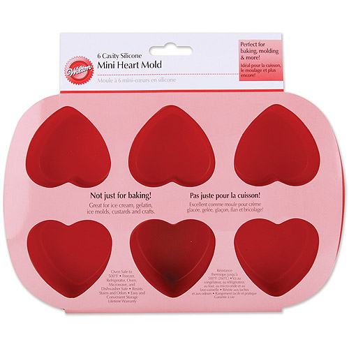Wilton 6-Cavity Mini Silicone Mold, Heart 2105-4824