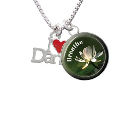 (I love Dance with Red Heart Breathe with Flower Glass Dome Necklace, 18