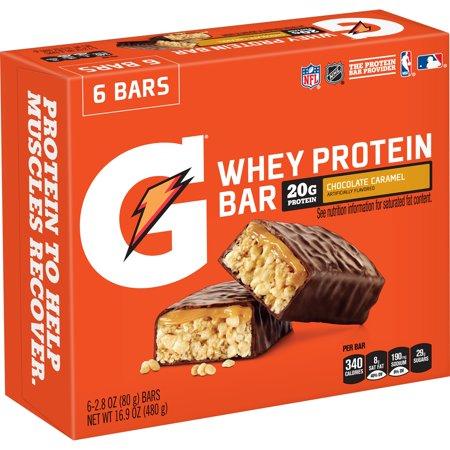 - Gatorade Whey Protein Recover Bar, Chocolate Caramel, 20g Protein, 6 Ct