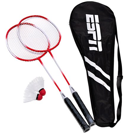 ESPN 2-Player One-Piece Aluminum Alloy Badminton Racket Set with Carry Bag, Lightweight, Two racquets and two