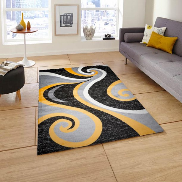 Mckenzie Area Rug F 7501 Gray Yellow 5, Gray And Yellow Rugs For Living Room