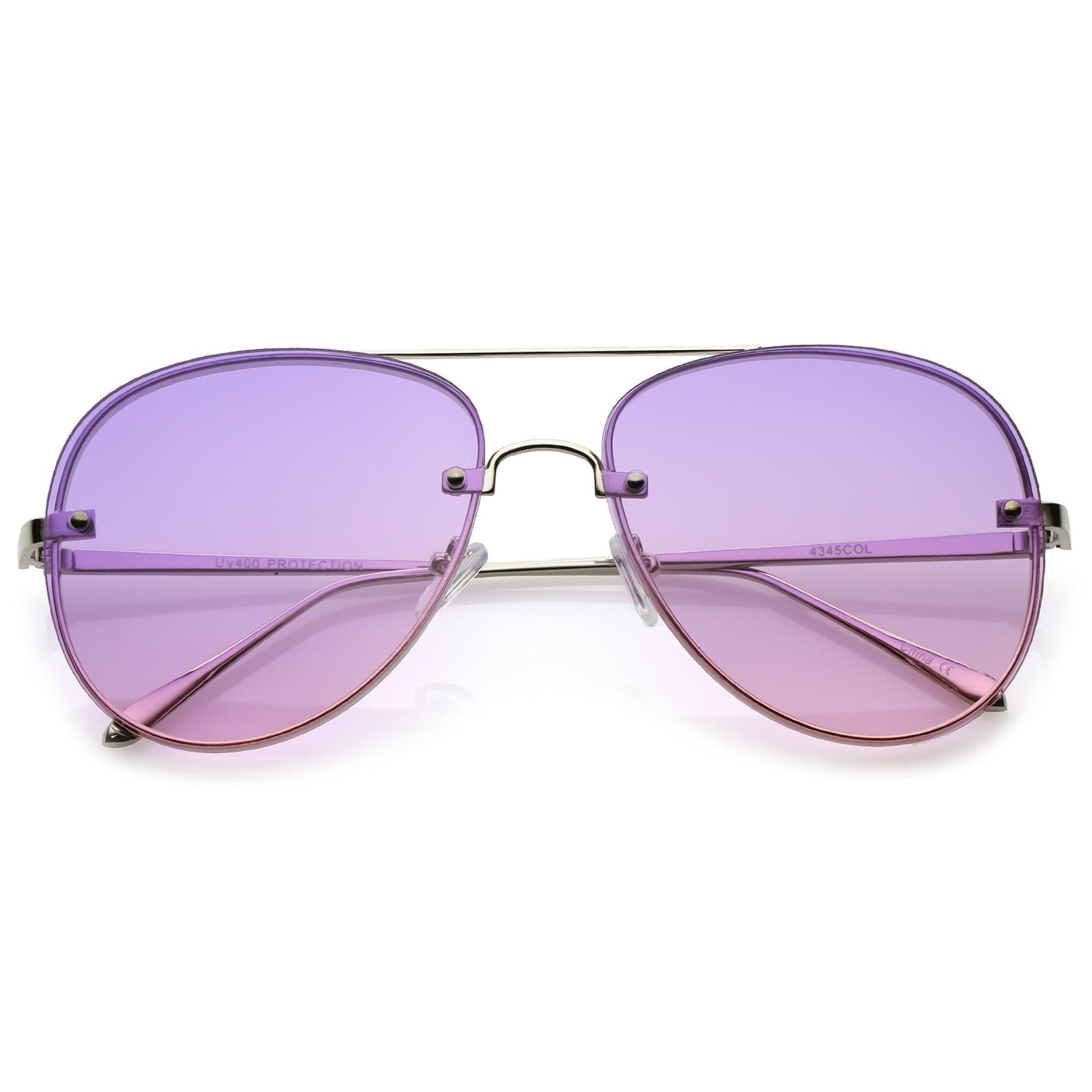 967860dc33 sunglass.la - Oversize Rimless Aviator Sunglasses Thick Frame Gradient Flat  Lens 60mm (Silver   Blue Yellow) - Walmart.com