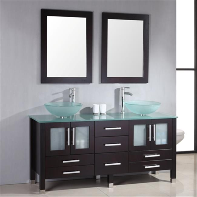 Cambridge Plumbing 8119BXL 71 In. Solid Wood & Glass Double Vessel Sink Vanity Set