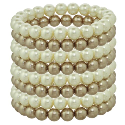 Alexa Starr Ivory and Black Glass Pearl Stretch Bracelet Set Ivory/ Cocoa