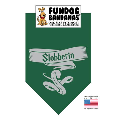 Fun Dog Bandana - HP Slobberin - One Size Fits Most for Med to Lg Dogs, forest green pet scarf