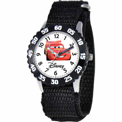 Disney Cars Lightning McQueen Boys' Stainless Steel Watch, Black Strap