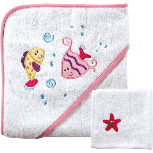 Luvable Friends Baby Woven Hooded Towel with Washcloth, Yellow by Babyvision, Inc.