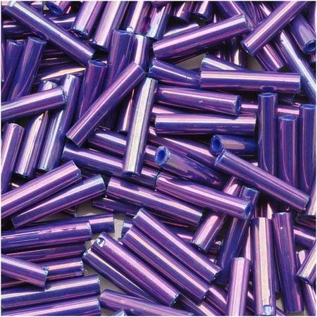 Toho Bugle Tube Beads Size #3 2x9mm Higher Metallic Grape 10 Grams ()
