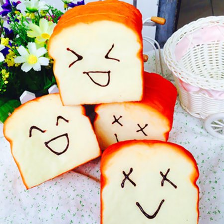 Mini Elastic Environmentally PU Toast Soft Slice Card & Cell Phone Holder Bread Hand Kawaii Vent Toy Gift
