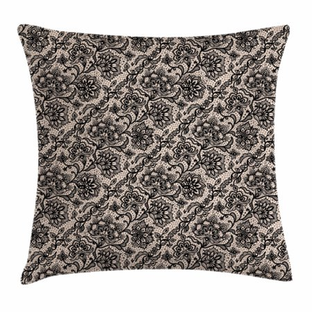 Gothic Throw Pillow Cushion Cover, Abstract Graphic Lace Pattern with Flowers Butterflies Old Fashioned Nature Inspired, Decorative Square Accent Pillow Case, 20 X 20 Inches, Tan Black, by (Butterfly Inspired Fashion)
