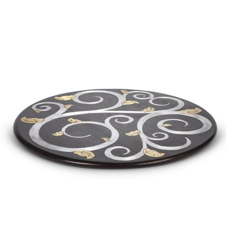 Gl Wood Inlay Lazy Susan