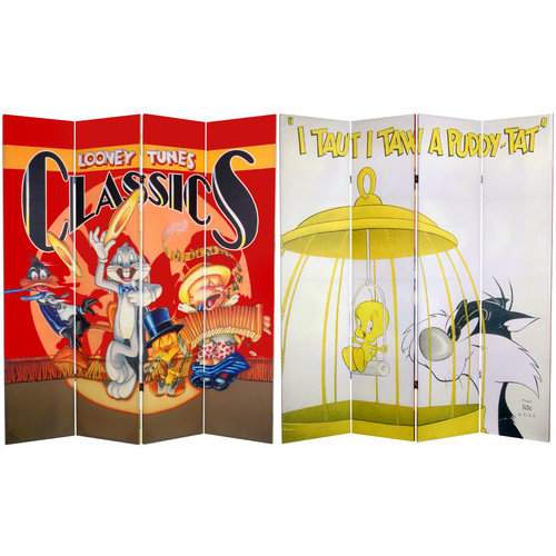 Oriental Furniture 71'' x 63'' Tall Double Sided Tweety and Sylvester 4 Panel Room Divider