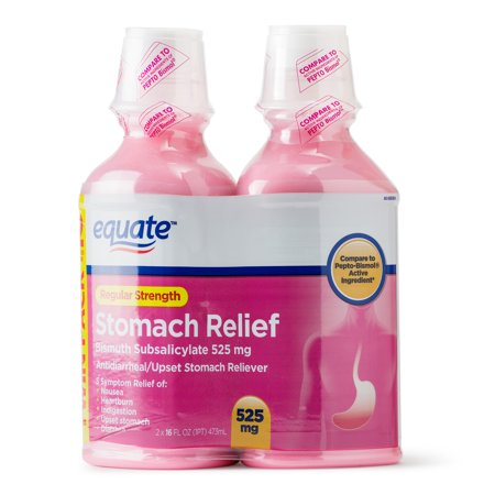 Equate Regular Strength Stomach Relief Liquid, 525 mg, 16 fl oz, 2