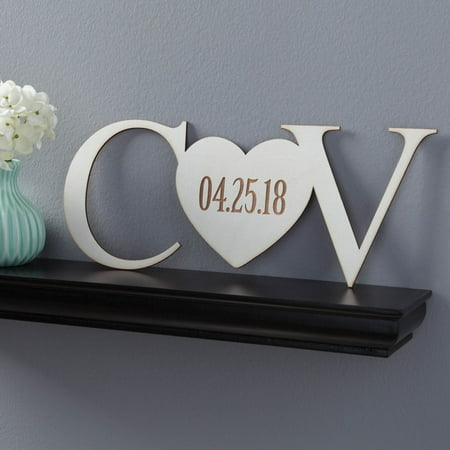 Initials and Heart Personalized White Wood Plaque