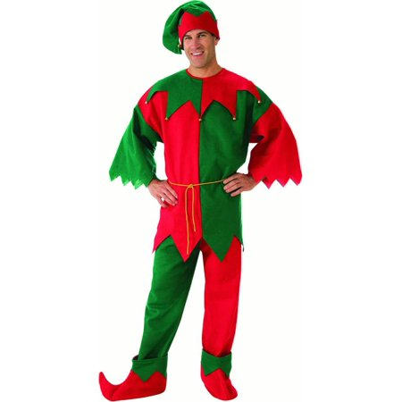 Long Sleeve Elf Mens Adult Santas Helper Christmas Costume Set-Std](Santa Elves Costumes)