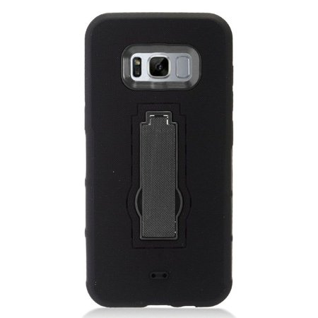 the best attitude 19edb d8fbd Insten For Samsung Galaxy S8 Plus Black Soft Hard Hybrid Rubber Case with  Stand