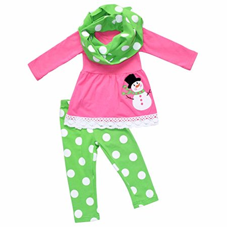 Unique Baby Girls Frosty the Snowman 3 Piece Christmas Outfit (6/XL, Pink)