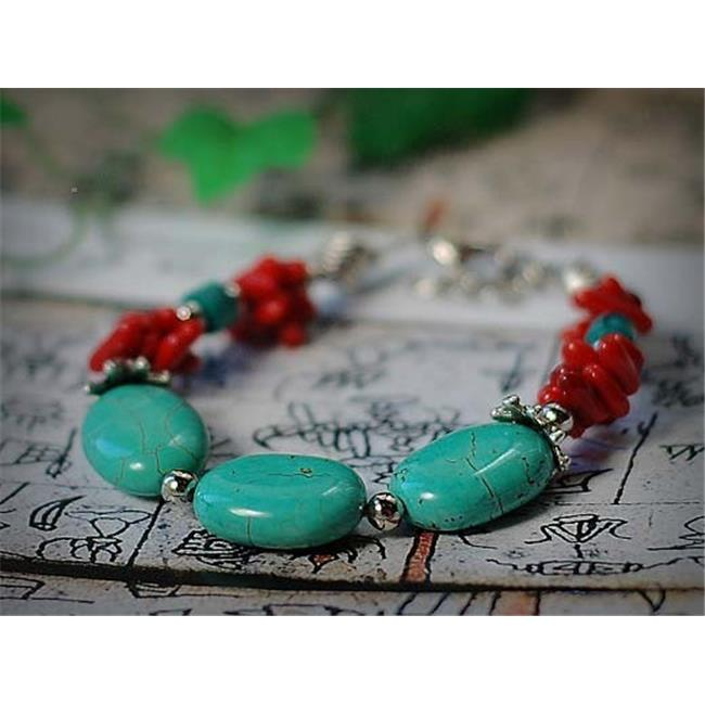 Merit 10119 Coral Turquoise Oval Bracelet by Merits