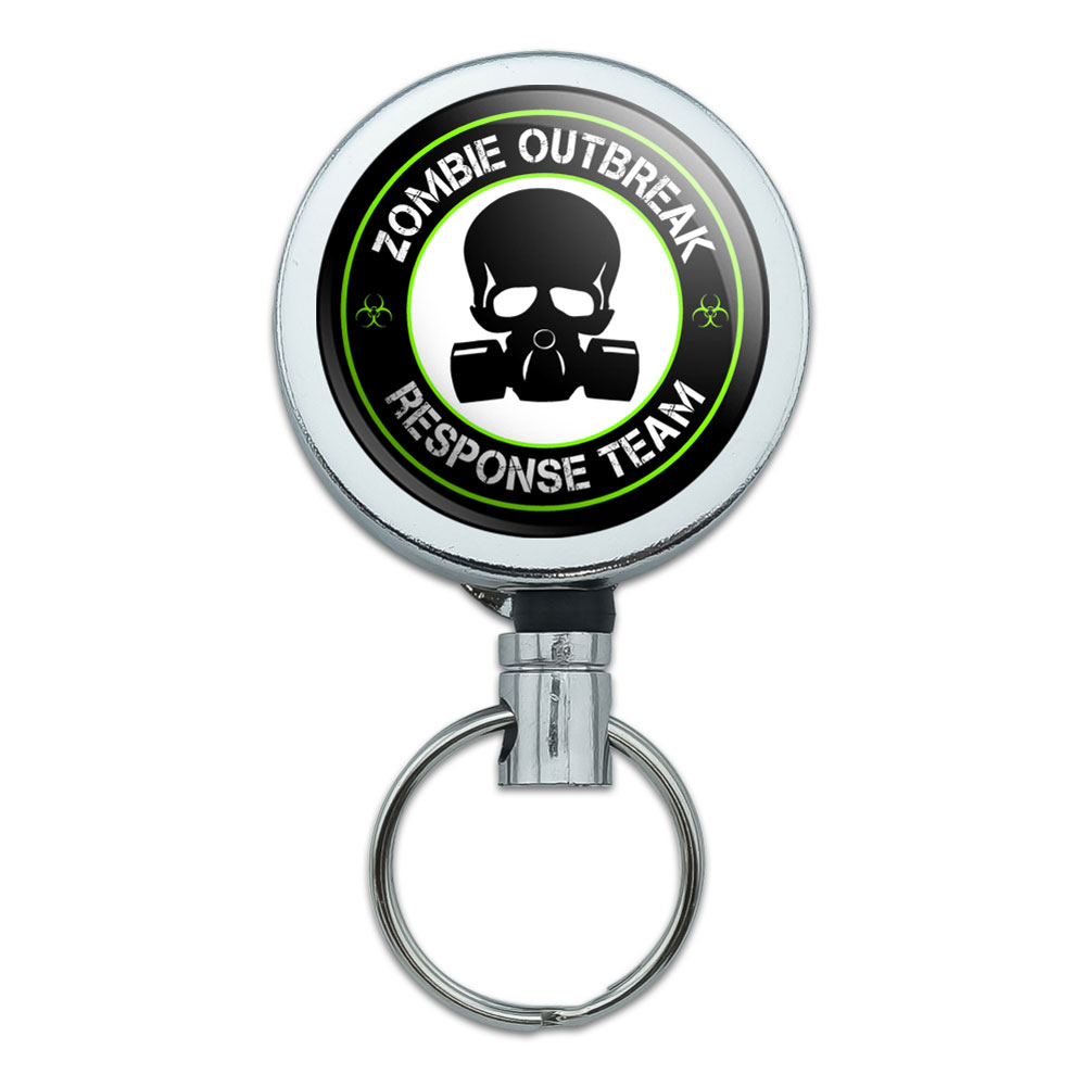 Zombie Outbreak Response Team Gas Mask Green Retractable Belt Clip Badge Key Holder by Graphics and More