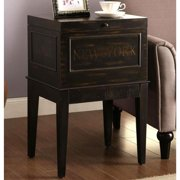 A Line Furniture New York Paris London  Rome Antique Distressed Black Storage Accent Table