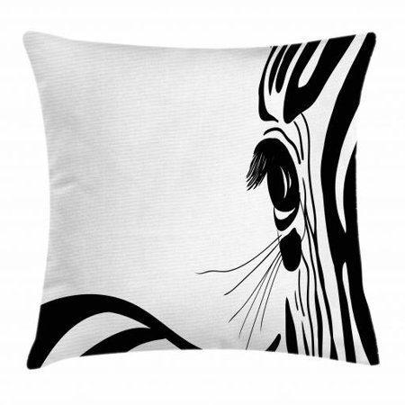 Wildlife Throw Pillow Cushion Cover, Artistic Sketch Detail of Zebra Eye Curved Lines Stripes Camouflage Pattern, Decorative Square Accent Pillow Case, 16 X 16 Inches, Black and White, by Ambesonne