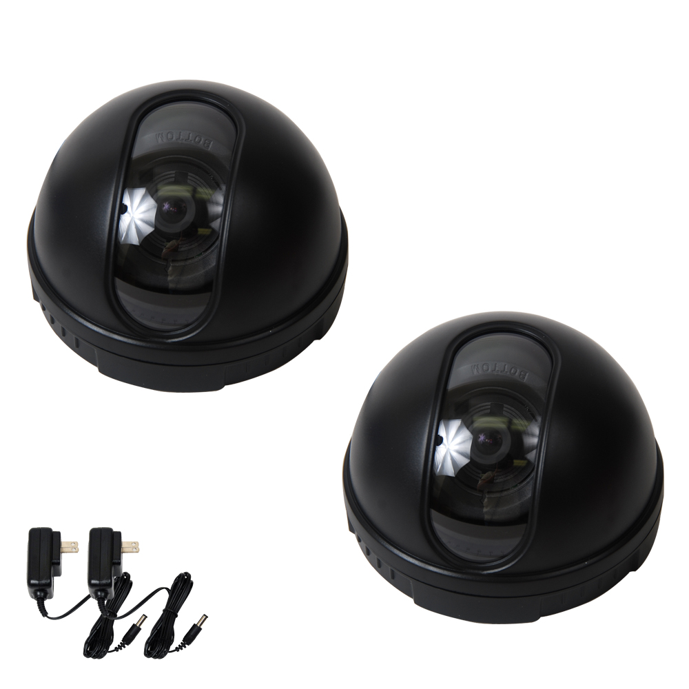 "VideoSecu 2 Pack Dome Indoor Video 1/3"" CCD Security Camera Wide Angle View w/ 2 Power for Home Surveillance System BAA"