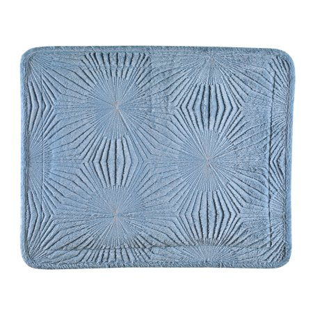 Embroidered Starburst Patterned Faux Fur Textured Pillow Sham - Bedroom Decor for Any Season ()