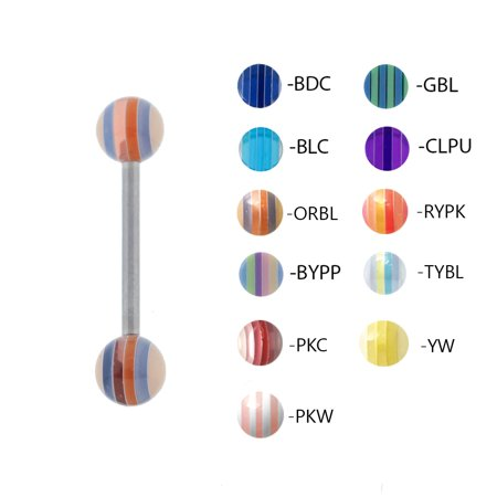 - Lex & Lu Steel Straight Tongue Barbell w/Acrylic Striped Balls 14G 5/8