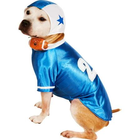 Blue Football Player Dog Costume - Blue Footballs