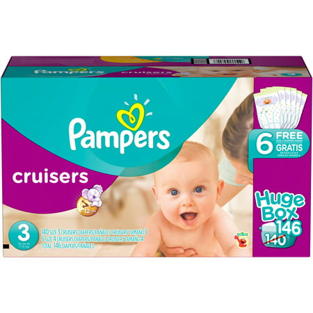 Pampers Cruisers Diapers, Size 3 (Choose Diaper Count)