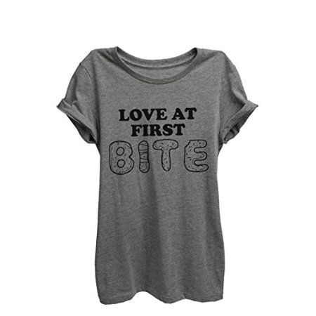 Thread Tank Love At First Bite Womens Relaxed T-Shirt Tee Heather Grey (Womens Love Bites)