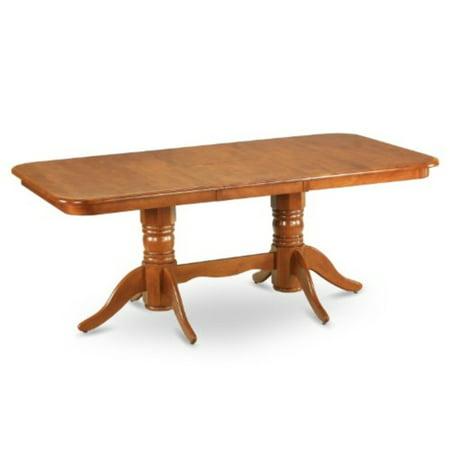 east west furniture nat-sbr-tp rectangular round corner dining table with 18-inch self storage leaf (18 Leaf Dark Cherry)