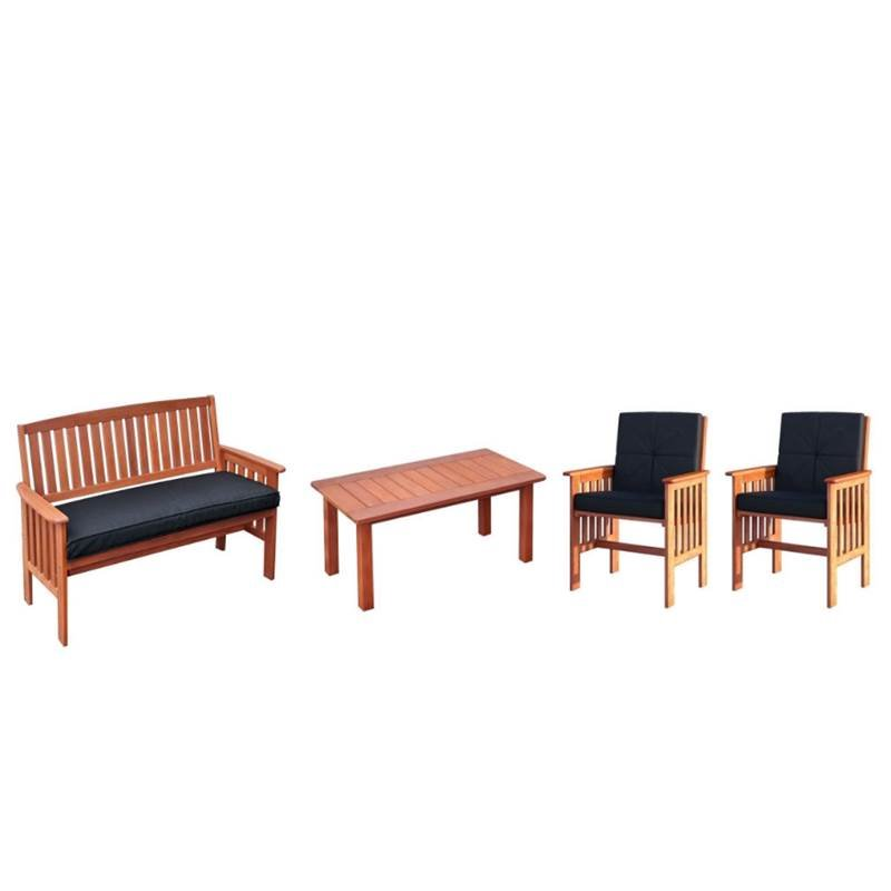 4 Piece Outdoor Patio Furniture Set with Bench, Coffee Table, and Set of 2 Armchair in Cinnamon Brown by