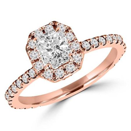 0.75 CTW Antique Vintage Radiant Cut Diamond Engagement Ring in 14K Rose Gold, Size 4