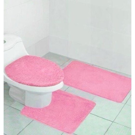 3 Pc 6 Light Pink Solid Plain Bathroom Bath Mat Set