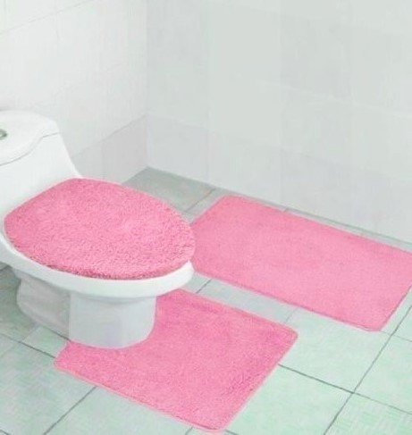 "3-Piece Bathroom Bath Rug Set Pattern Bathroom Non-Slip Rug (20""x32"")/large Contour Mat (20""x20"") with Lid Cover t Bath Mat, Contour, and Lid Cover, with Rubber Backing #6"