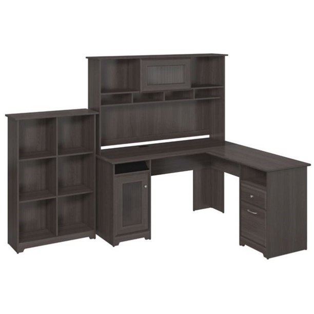 "Pemberly Row 60"" L-Shape Desk with Hutch and 6 Shelf Bookcase in Heather Gray"