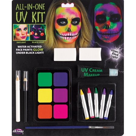 Very Easy Halloween Makeup (Fun World All-In-One Water Activated UV Halloween 12pc Makeup Kit,)