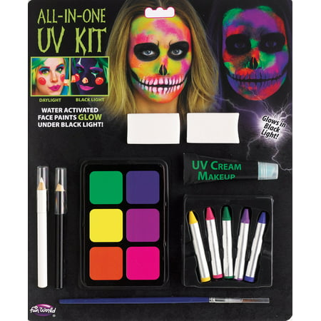 Halloween Makeup Special Effects (Fun World All-In-One Water Activated UV Halloween 12pc Makeup Kit,)