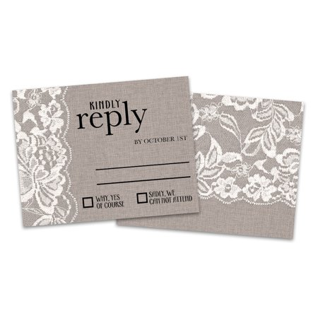 Personalized Burlap and Lace Wedding RSVP Cards